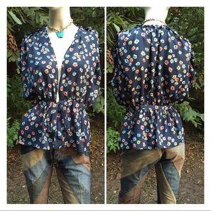 Tie Front Floral Print Kimono Top